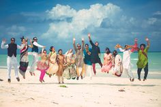 Looking for Bride and groom with friends jumping in the air shot? Browse of latest bridal photos, lehenga & jewelry designs, decor ideas, etc. Wedding Guest List, Wedding Story, Destination Wedding, Wedding Destinations, Wedding Planning, Indian Beach Wedding, Bridal Photoshoot, Wedding Linens, Best Photographers