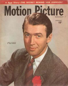 """James Stewart on the cover of """"Motion Picture"""" magazine, USA, January 1947."""