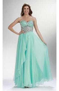 Sheath Sweetheart Long Mint Green Chiffon Beaded See Through Prom Dress 9be2562895be