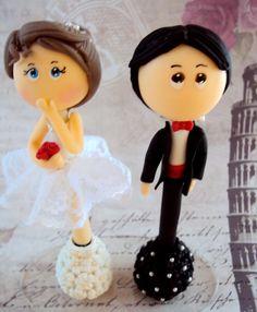 Caneta decorada com tema noivos http://www.elo7.com.br/casamento/al/5E569 Casamento | Festa | Biscuit | Noivinhos