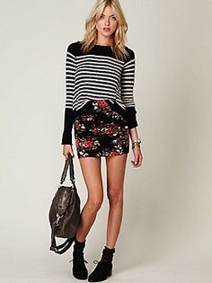 Free People outfit. Love mixing prints and textures!