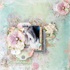 Scraps of Elegance scrapbook kits: Annie Carignan created this beautiful pastel mixed media layout with our May 2016 'Belle Journee' kitSubscribe to our kits and get a new box of mixed media scrapbooking fun in the mail each month! www.scrapsofdarkness.com