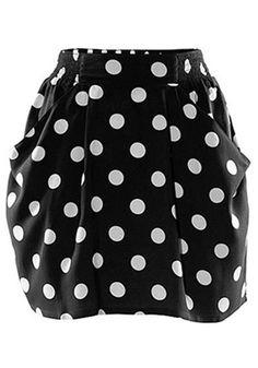 Black Polka Dot High Waist Silk Wadding Skirt