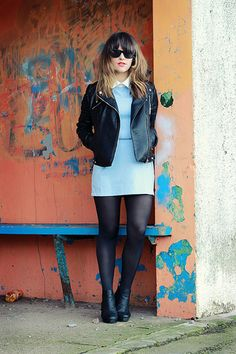 Glamorous blue dress with white collar (c/o) | Zara biker jacket | Topshop chelsea boots (old, similar)
