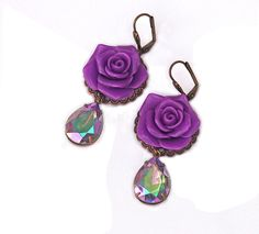 Carnival Glass Earrings Vintage Violet Green Blue Magenta Drops Purple Rose Cabochon Antique Brass Bronze Filigree Victorian Shabby Chic - pinned by pin4etsy.com