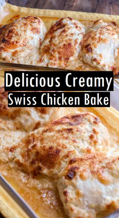 Simple Delicious Creamy Swiss Chicken Bake Recipe Simple Delicious Creamy Swiss Chicken Bake – A Simple And Delicious Dinner Recipe That Includes Swiss And Parmesan Cheeses And Baked To Perfection. Cheese Bake Recipes, Chicken And Cheese Recipes, Fun Baking Recipes, Easy Chicken Recipes, Cooking Recipes, Chicken Spinach Bake, Swiss Chicken Bake, Skinless Chicken Recipe, Swiss Recipes
