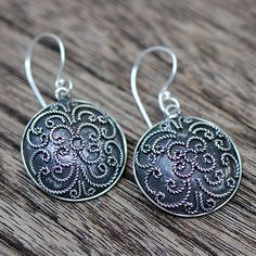 Bali Antique Silver Drop Earrings #ER010 by JayamaheBali on Etsy