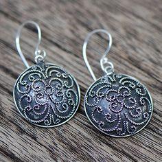 Bali Antique Silver Drop Earrings #ER010 by JayamaheBali on Etsy