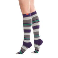 Purple Leopard Boutique - Women's Nylon Knee High Compression Socks Purple Grey Stripes, $36.00 (http://www.purpleleopardboutique.com/womens-nylon-knee-high-compression-socks-purple-grey-stripes/)