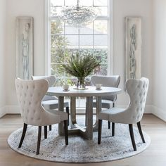 Pacifica Round Dining Table - Dining In The Round - Dining Room - Room Ideas. The Pacifica Round Dining Table takes advantage. Luxury Dining Room, Elegant Dining Room, Dining Room Design, Dining Rooms, Round Dining Room Sets, Grey Round Dining Table, Chairs For Dining Table, Grey Dining Room Chairs, Dinning Room Furniture Ideas