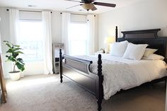 HOLY CITY CHIC: the great paint debate - SOLVED. (master bedroom before & after) Sherwin Williams Zurich White