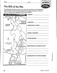 River Valley Civilizations Worksheet Answers New River Valley Civilizations Worksheet Answer Key Geography Lesson Plans, Geography Worksheets, Map Worksheets, Social Studies Worksheets, School Worksheets, Printable Worksheets, Ancient Egypt Lessons, Ancient Egypt For Kids, 6th Grade Social Studies