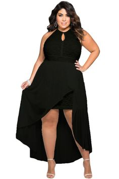 Stylish Black Lace Special Occasion Plus Size Dress