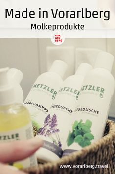 Familie Metzler aus dem Bregenzerwald erzeugt Pflegeprodukte und Getränke aus Molke sowie Käse aus Kuh- und Ziegen-Heumilch. Molkeprodukte aus Vorarlberg sind ein beliebtes Souvenir für die Daheimgebliebenen. Metzler, Shampoo, Wellness, Goats, Beauty Products, Cow