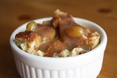 Pumpkin Bread pudding with Caramel Apple Raisin Sauce