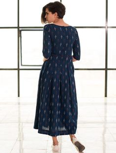 b1d148fd75 Blue Box Pleated Handloom Ikat Cotton Dress Cotton Dresses Online