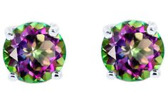 Mystic topaz's rich purples and fresh greens make these earrings a vivid and colorful finishing touch on party or holiday outfits