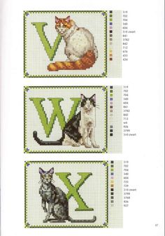 abc gatos V-X Cross Stitch Letters, Cross Stitch Samplers, Cross Stitch Animals, Counted Cross Stitch Patterns, Cross Stitch Charts, Cross Stitch Designs, Cross Stitching, Embroidery Art, Cross Stitch Embroidery