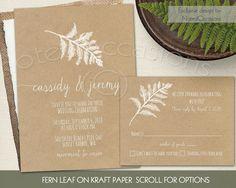 Ferns Wedding Invitation  Fern Leaf on Kraft by NotedOccasions