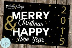 Happy Merry 2015 - Christmas & New year Card w/ Glitter cheap christmas cards