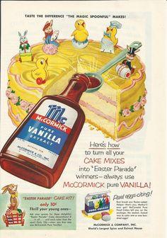 Vintage McCormick Vanilla birthday cake ad.
