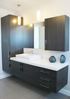 Great use of tile behind the mirrors Love this HUGE vanity