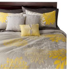 Anya 6 Piece Floral Print Duvet Cover Set - Gray/Yellow- A possibility for our master bedroom
