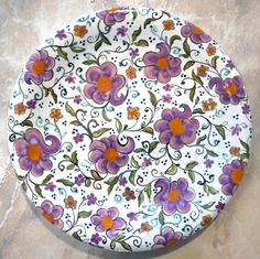 Hand Painted Majolica Ceramic Plate in Contemporary Floral. A gift you can use right away at your next Mother's Day Brunch.