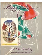 1951 Eitel Old Heidelberg Menu From Chicago For New Years SIGNED with Postcard