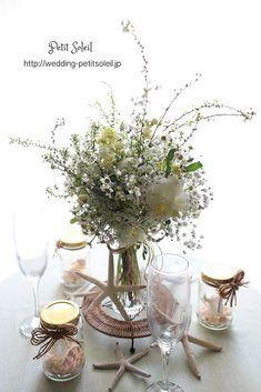 装花 海 ゲストテーブル wedding tableflower sea