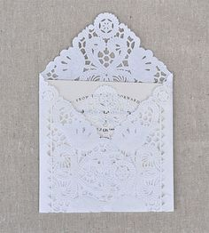 Wedding invitation envelope made from doilies Wedding Invitation Envelopes, Lace Invitations, Invites, Invitation Kits, Wedding Stationery, Paper Doilies, Paper Lace, Party Time, Wrapping