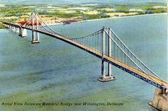 Delaware Memorial Bridge spans the Delaware River between Delaware and New Jersey.
