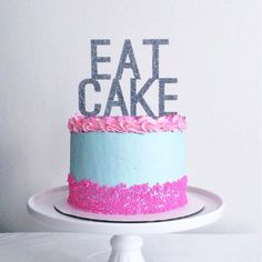 """Our unique """"eat cake"""" cake topper is a fun decoration for your cake! Great for your birthday cake, wedding cake, bachelorette party, bridal shower, or other party or event cake. The perfect combinatio"""