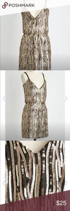 Modcloth Sequin Dress New with tags, fully lined with elasticized waist, size XS. Gold and rose gold color. Good for NYE.  Runs small. Dresses Midi