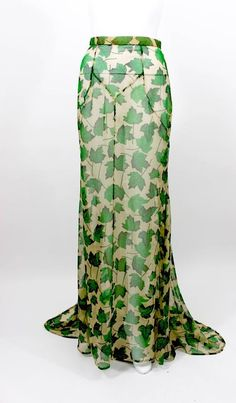 Dolce & Gabbana Sheer Silk Beige & Green Leaf Print Maxi Skirt with Train 2