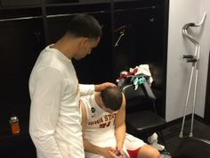 Naz Long and Georges Niang after Georges broken ankle! - 2014 NCAA game against NC Central
