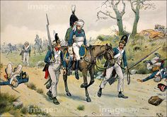 Napoleonic Wars, after the twin battles of Jena and Auerstadt, 14 October 1806, The wounded chief commander of the Prussian main army, Duke Ferdinand of Brunswick, historical painting by R. Knotel, Publishing house Paul Kittel, 1896,.