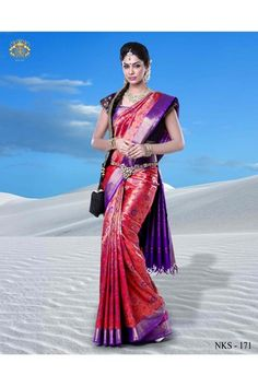 Silk Saree, Saree, Neerus, Neerus, Dark Pink Kanchipuram Silk Saree With Blouse