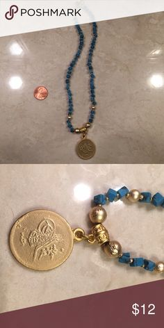 Beautiful turquoise color necklace Beautiful turquoise color necklace with gold medallion Jewelry Necklaces