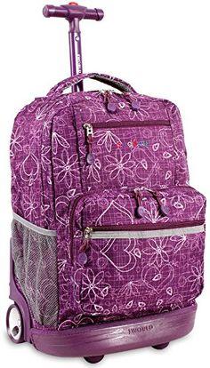 Sunset 18 Multi Pocket Rolling Backpack Color Love Purple * Click on the image for additional details.