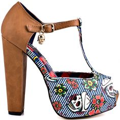 This printed platform will sail its way straight to your heart.  Iron Fist's Filthy Landlubber features a tan man made upper with t-strap and hanging charm.  A nautical striped vamp features skulls and flowers decorating the 1 1/4 inch platform.  This peep toe brings you a 5 1/2 inch wrapped block heel to polish off the look.