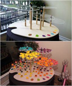 Rainbow Bat Mitzvah Cupcake Display, Art Palette, Artist Paintbrush Stand {Cupcakes Theme Decor: Total Party, Craig2Photo} - mazelmoments.com