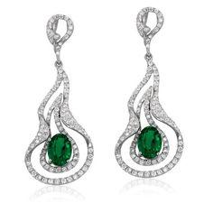 Yael Earrings | Emerald and Diamonds