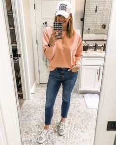 Good Vibes Only casual cute #ootd Wearing this cozy soft vibrant peach sweatshirt from Gap (I practically have every color!), and these skinny jeans also from Gap. Throw on this good vibes only hat and I'm ready to run some errands! Found some cute Good Vibes tees & tanks that I also linked! #goodvibes #gap #gapstyle #madewell #ootd #wiw #mommychic #ShopStyle #MyShopStyle #Lifestyle #Travel