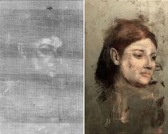 A portrait, seemingly of the model Emma Dobigny, that was painted over for another work by Edgar Degas. The image on the left was captured with conventional X-rays. The color reconstruction was made using data from X-ray fluorescence. Credit Left: National Gallery of Victoria, Melbourne, Felton Bequest, 1937; Right: David Thurrowgood.