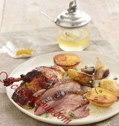 Ingredients for Honey lacquered Roasted Duck with Roasted Potatoes and Shallots:      1 whole (5- to 5½-pound) Pekin duck     1/2 cup kosher salt     1 1/4 cups acacia honey     6 medium roasted potatoes, halved lengthwise     10 medium shallots, peeled     Blistering coarse sea salt     1 1/2 teaspoons fennel seeds     2 teaspoons fresh thyme leaves     Freshly ground black pepper