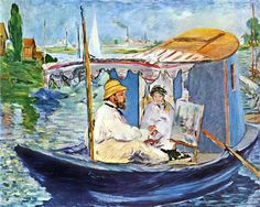 Eduard Manet Claude Monet working on his boat in Argenteuil painting, oil on canvas & frame; Eduard Manet Claude Monet working on his boat in Argenteuil is shipped worldwide, 60 days money back guarantee. Claude Monet, Edouard Manet Paintings, Monet Paintings, Portrait Paintings, Art Français, Impressionist Paintings, Oil Painting Reproductions, Gustav Klimt, Renoir