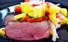 Duck breast and mango salsa. Mango Salsa, Tuna, Steak, Breast, Fish, Recipes, Sauces, Atlantic Bluefin Tuna