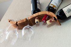 Elegant oak wood rack for 3 wine bottles and by WoodRusticDecor