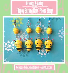 Happy Buzzing Bees Phone Straps by Octopop-n-Aicing.deviantart.com on @deviantART